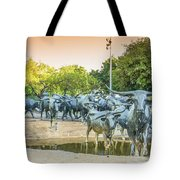 Longhorn Cattle Sculpture In Pioneer Plaza, Dallas Tx Tote Bag