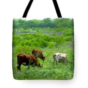 Longhorns - Grazing In The Wilds Tote Bag