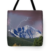 Longs Peak Lightning Storm Fine Art Photography Print Tote Bag