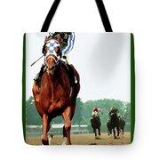 Looking Back, 1 1/2 Mile Belmont Stakes Secretariat 06/09/73 Time 2 24 - Painting Tote Bag