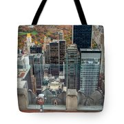 Looking Down At New York Central Park Surounded By Buildings Tote Bag