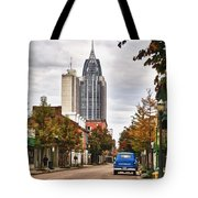 Looking Down Dauphin Street And The Blue Truck Tote Bag