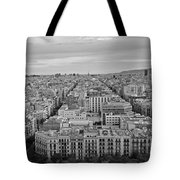 Looking Down On Barcelona From The Sagrada Familia Black And White Tote Bag