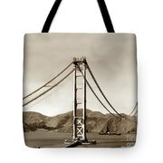 Looking North At The Golden Gate Bridge Under Construction With No Deck Yet 1936 Tote Bag