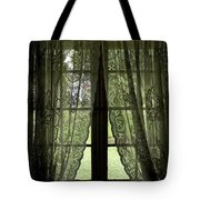 Looking Out The Window Of A Log Cabin Tote Bag
