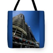 Looking Up At Chicago's Marina Towers Tote Bag