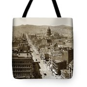 Looking Up Market Street From The Call Building With City Hall Circa 1900 Tote Bag
