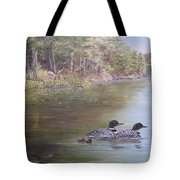 Loon Family 1 Tote Bag by Jan Byington