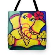 Lord Ganesh By  Sarada Tewari Acrylic Paint On Canvas 24x28inch Tote Bag
