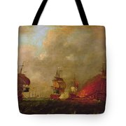Lord Howe And The Comte Destaing Off Rhode Island Tote Bag by Robert Wilkins