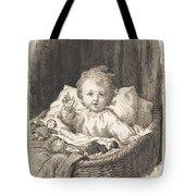 Lorenz Frolich Danish, Copenhagen 1820-1908 Hellerup, Child In A Crib Tote Bag