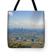 Los Angeles Skyline Between Power Lines Tote Bag