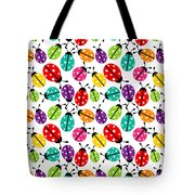 Lots Of Crayon Colored Ladybugs Tote Bag