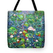 Lotus Flower Water Lily Lily Pads Painting Tote Bag