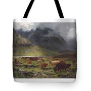 Louis Bosworth Hurt 1856-1929 Highland Cattle In A Glen Tote Bag