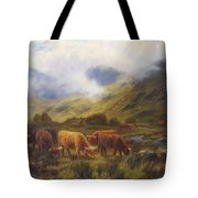 Louis Bosworth Hurt British 1856 - 1929 Highland Cattle Tote Bag