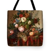 Louis Vidal, Still Life With Flowers And Fruit Tote Bag