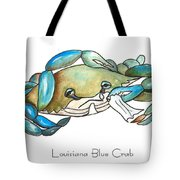 Louisiana Blue Crab Tote Bag by Elaine Hodges