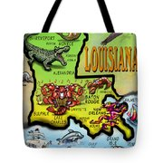 Louisiana Cartoon Map Tote Bag