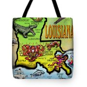 Louisiana Cartoon Map Tote Bag