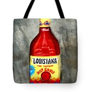 Louisiana Hot Sauce Tote Bag by Elaine Hodges
