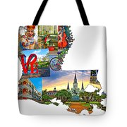 Louisiana Map - New Orleans Tote Bag