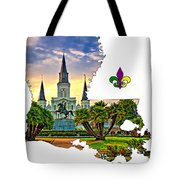 Louisiana Map - St Louis Cathedral Tote Bag