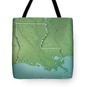 Louisiana State Usa 3d Render Topographic Map Border Tote Bag