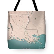 Louisiana State Usa 3d Render Topographic Map Neutral Border Tote Bag