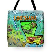 Louisiana Usa Cartoon Map Tote Bag