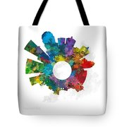 Louisville Small World Cityscape Skyline Abstract Tote Bag