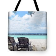 Lounge Chairs At The Beach In Maldives Tote Bag