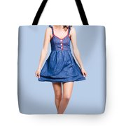 Lovable Eighties Female Pin-up In Denim Dress Tote Bag