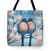 Love Birds Tote Bag by Holly Donohoe