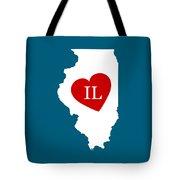 Love Illinois White Tote Bag