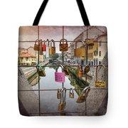Love Lock Triangle At Naviglo Grande Milan Italy  Tote Bag