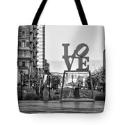 Love On The Parkway In Black And White Tote Bag