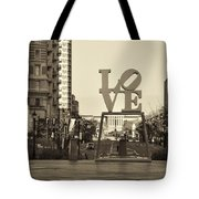 Love On The Parkway In Sepia Tote Bag