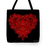 Love Red Floral Heart Tote Bag