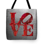Love Sign Philadelphia Recycled Red Vintage License Plates On Aluminum Sheet Tote Bag