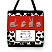 Love Spanish Bw Graphic Tote Bag
