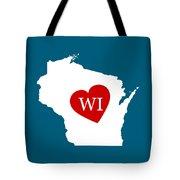 Love Wisconsin White Tote Bag