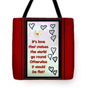 Love World Round Flat Red Tote Bag