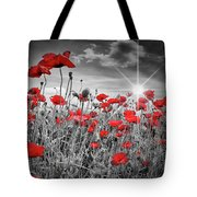 Lovely Field Of Poppies With Sun  Tote Bag