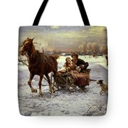 Lovers In A Sleigh Tote Bag
