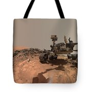 Low-angle Self-portrait Of Nasa's Curiosity Mars Rover Tote Bag