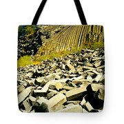 Low Angle View Of Devils Post Pile Tote Bag