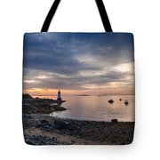 Low Tide At Salem's Lighthouse Tote Bag