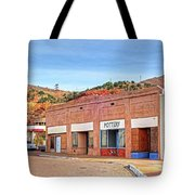 Lowell Arizona Pottery Building Old Police Car Tote Bag