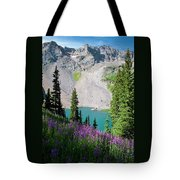 Lower Blue Lake Summer Portrait Tote Bag by Cascade Colors